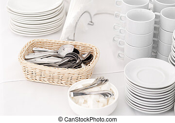 teaspoons closeup. Group of empty coffee cups. White cup for service tea or coffee in breakfast or buffet and seminar event.