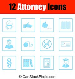 Set of attorney icons. Blue frame design. Vector...
