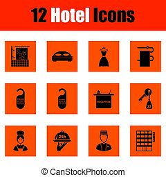 Set of twelve hotel icons