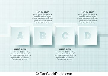 clipart vector of four topics simple white paper d triangle on four topics simple white paper 3d square on timeline for website presentation cover poster vector design infographic illustration concept