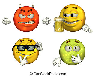 4 Emoticons3 - Big 3D rendered emoticons - set 3