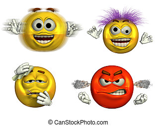 Four Emoticons-5 - Four emoticons depicting hyper, wild and...