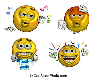 Four-Emoticons - 8 - 3d render of four emoticons depicting -...