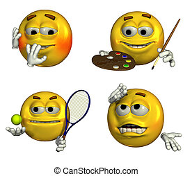 Four-Emoticons-7 - Four emoticons depicting embarrassed,...