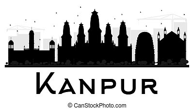 Kanpur City skyline black and white silhouette. Vector...