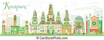 Abstract Kanpur Skyline with Color Buildings. Vector...