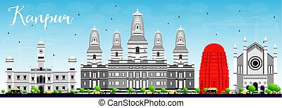 Kanpur Skyline with Gray Buildings and Blue Sky. Vector...