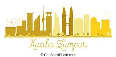 Kuala Lumpur City skyline golden silhouette.