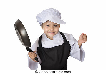 Four years girl chef - Beautiful four years chef girl...