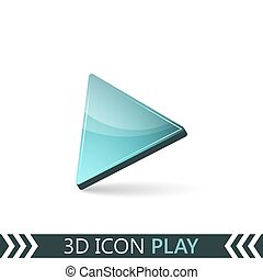3D icon play. - 3D icon play isolated on white background....