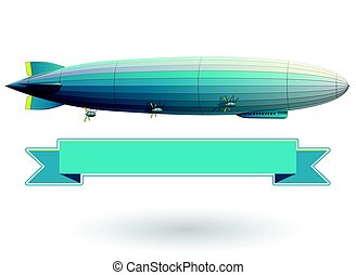 Legendary zeppelin airship. Blue stylized flying balloon....