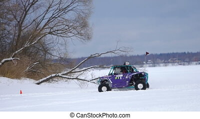Winter off-road racing. Buggy race. - Winter racing...