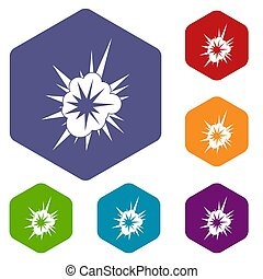 Nucleate explosion icons set hexagon isolated  illustration