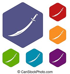 Scimitar sword icons set hexagon isolated  illustration