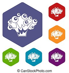 High power explosion icons set hexagon isolated illustration...