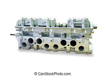 engine block with four cylinders and four valves per cylinder