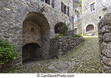 Alleyway in the village of Labeaume, Southern France