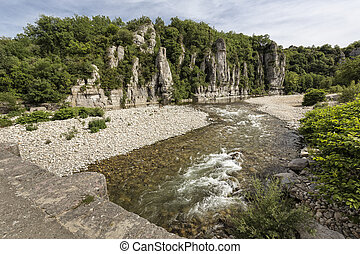 The small river Beaume in the Ardeche district in Southern...