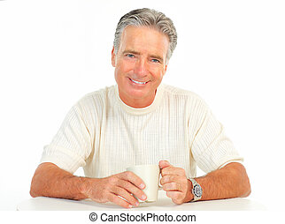 Man - Mature smiling man drinking tea