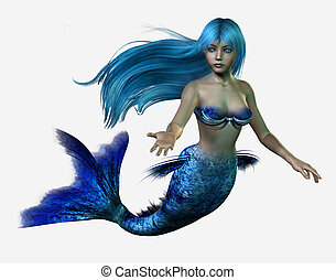 Blue Mermaid - 3D render of a mermaid with long, flowing...