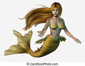 Gold Mermaid - 3D render of a mermaid with long, flowing...