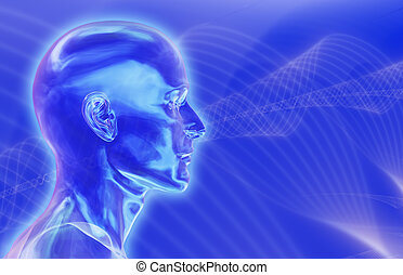 Blue Brainwaves Background - 3d render with fractal...