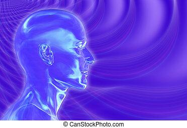Violet Brainwaves Background - 3d render with fractal...
