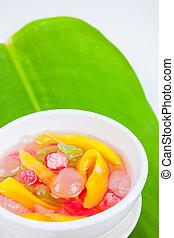 Thai Dessert (ruam mit) colorful ball flour, coconut, milk,...