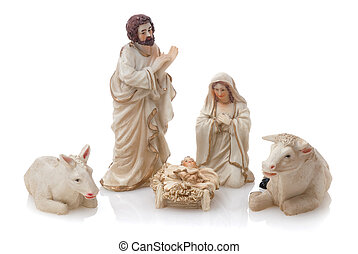 Ceramic nativity scene isolated on white background