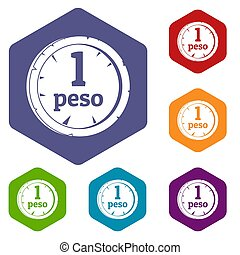 Peso icons set hexagon isolated  illustration