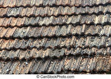 The roof is covered with brown tiles close up