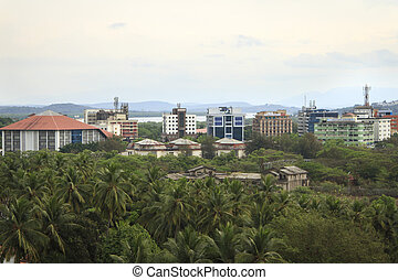 Aerial view to Panjim city - capital of Goa state - Goa,...