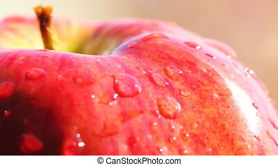 HD Rotating red apple macro