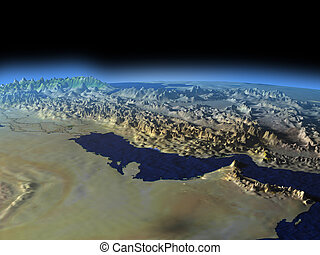 Persian Gulf from space on early morning