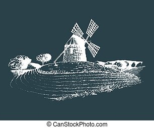 Hand sketch of rustic windmill in fields. Vector rural landscape illustration. Mediterranean countryside poster, card.