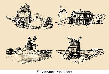 Hand drawn old rustic mills images.Vector rural landscape...