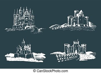 Vector old castles illustrations set. Hand drawn architectural landscapes of ancient towers with rural fields and hills.