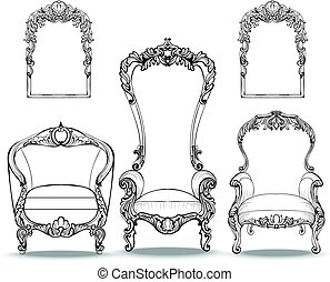Imperial Baroque armchairs set with luxurious ornaments....