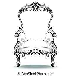 Classic Imperial Baroque armchair with luxurious ornaments....