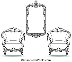 Imperial Baroque chair and mirror frame with luxurious...