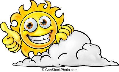 Sun Cartoon Mascot and Cloud