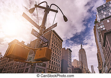 5th Avenue Street sign - low angle of 5th Avenue Street Sign...