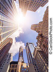office highrise buildings - low angle shot of futuristic...