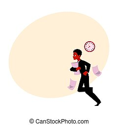 Young black, African American businessman hurrying to work, being late
