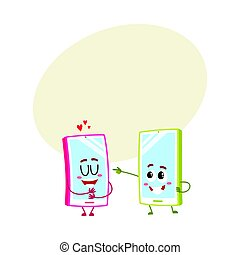Cartoon mobile phone characters, one showing love, another pointing, laughing