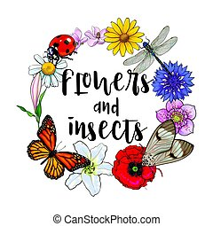Round frame of insects and flowers with place for text