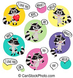Emoji, emoticon stickers with cute raccoon character and...