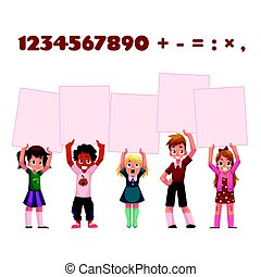 Children, kids holding empty boards for mathematic,...
