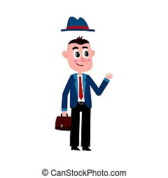 Funny businessman with removable hat, holding briefcase, showing okay sign