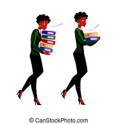 Black, African businesswoman carrying document folders, normal, heavy workload concept